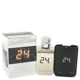 24 Platinum The Fragrance By Scentstory Eau De Toilette Spray + 0.8 Oz Mini Pocket Spray 3.4 Oz