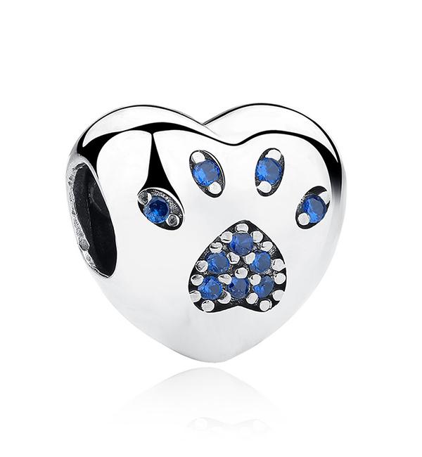 Buy Blue Love Heart Paw Print Charm