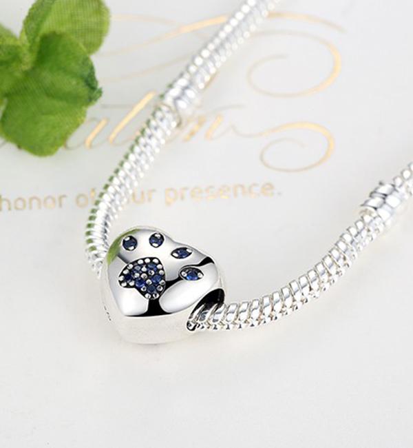 Buy Blue Paw Print Love Heart Charm