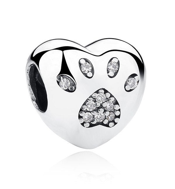 Buy Love Heart Paw Print Charm