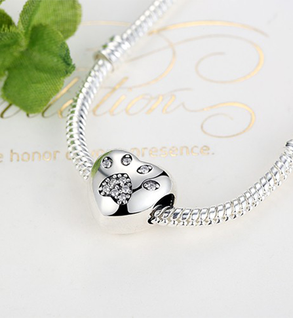 Buy Paw Print Love Heart Charm