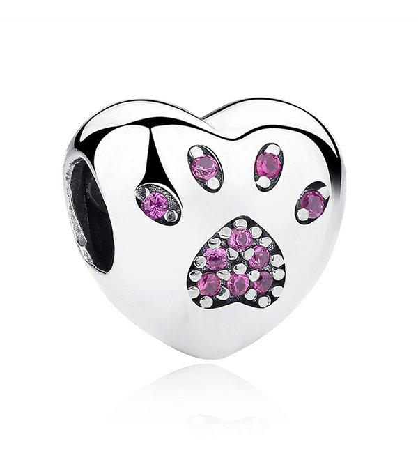 Buy Pink Love Heart Paw Print Charm