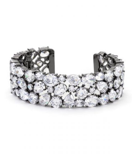 Bejeweled Black Tone Cuff Bracelet