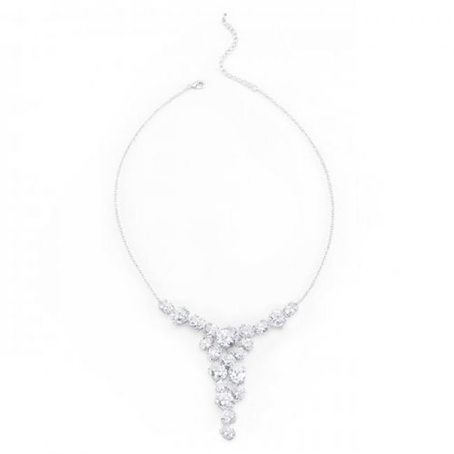 Bejeweled White Gold Bib Necklace