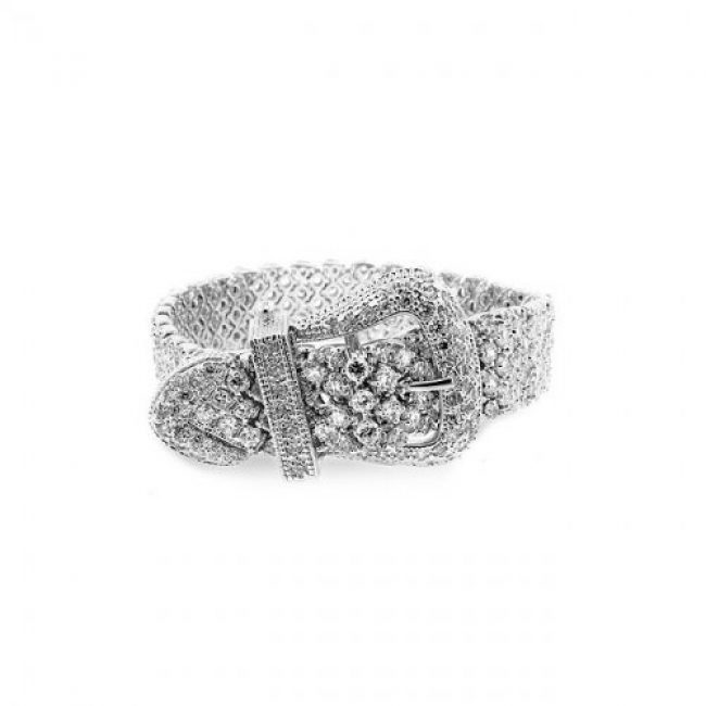 Belt Style Buckle Bracelet with shimmering Round Cut Clear Cubic Zirconia