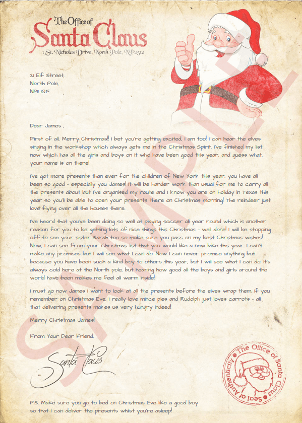 christmas letter from santa - From Santa