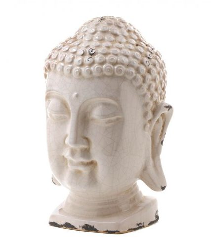 Crackle Glazed White Buddha Head Statue