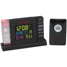 First Alert Radio-controlled Weather Station Alarm Clock With Wireless Sensor