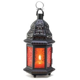 Decorative Halloween Candle Lantern in sunset orange adds lovely color to your halloween lighting.