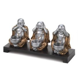 No Evil Buddha Candleholder Set