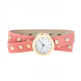 Pink Round Studded Wrap Watch