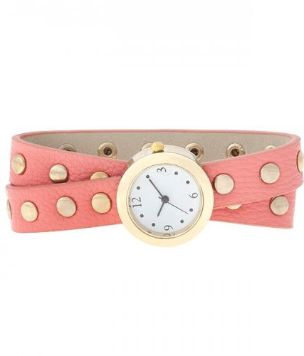 Pink Round Studded Wrap Watch