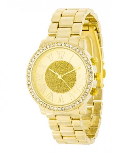 Roman Numeral Goldtone Watch With Crystals