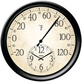 """Taylor 14"""" Decorative Thermometer With Clock"""